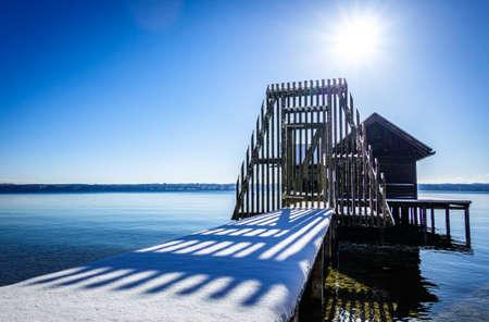 small hut at the starnberg lake - bavaria