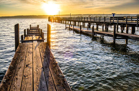 old wooden jetty at a lake in bavaria - germany Standard-Bild