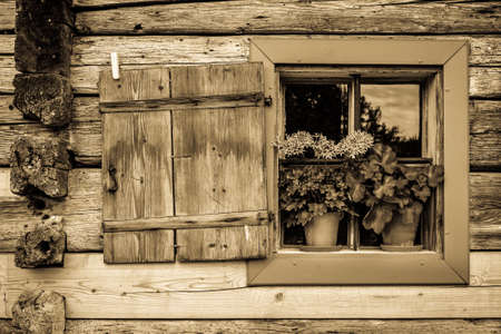 old wooden window at a farm
