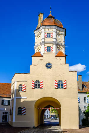 historic buildings at the old town of aichach - bavaria