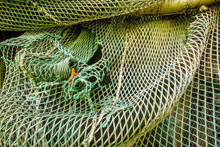 old fishing net at a harbor