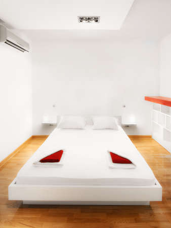 ensuite: Hotel bedroom with furnished bed