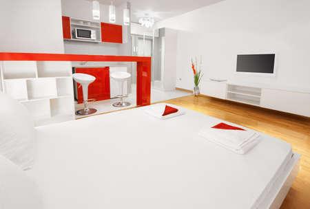 ensuite: Modern bedroom or hotel apartment en-suite