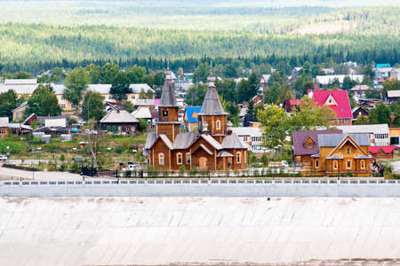 lena: Church in the city of Lensk, on river bank Lena. Stock Photo