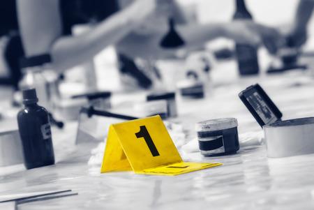 delito: Marcador de la escena del crimen Foto de archivo