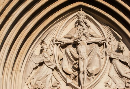 olomouc: The Holy Trinity. Gothic relief in Saint Wenceslas Cathedral in Olomouc