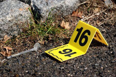 offense: Crime Scene Evidence Marker Next Syringe