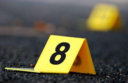 Crime Evidence Markers on Asphalt