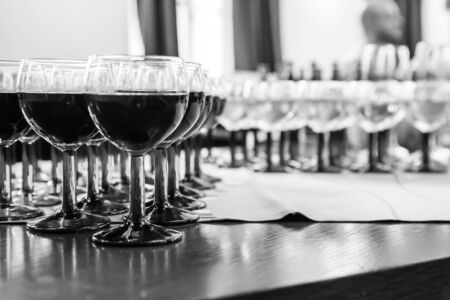 drinks on bar: Glass with Wine, Black and White Option Stock Photo