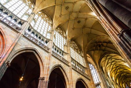 vitus: Interior of St. Vitus Cathedral at Prague Castle Editorial