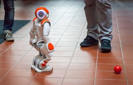 technical university: PRAGUE, CZECH REPUBLIC - September 9 2015 Electronic Robot Created by Students from Czech Technical University in Prague Stock Photo