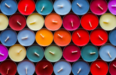 Decorative Colored Tea Candles, Various Colors, Top View Stock Photo