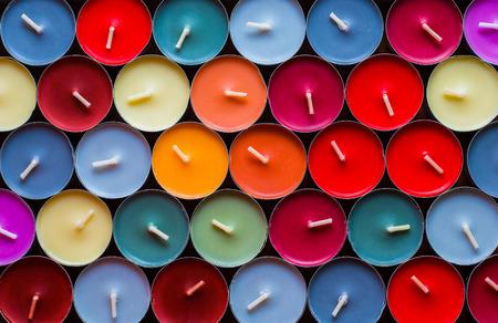 Decorative Colored Tea Candles, Various Colors, Top View Foto de archivo