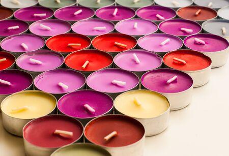 tea candles: Various Colors of Tea Candles Arrangeds Triangle Shape