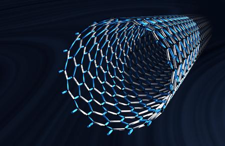 Straight Carbon Nanotube, White and Blue Bonds, Dark Blue Background Reklamní fotografie