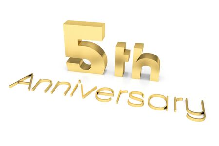 big five: 5 th Anniversary 3D Text, Gold Surface