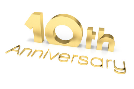 th: 10 th Anniversary 3D Text, Gold Surface Stock Photo