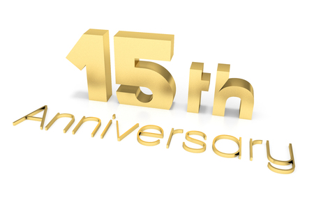 15: 15 th Anniversary 3D Text, Gold Surface