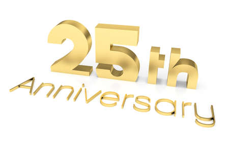th: 25 th Anniversary 3D Text, Gold Surface