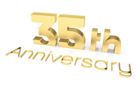 35: 35 th Anniversary 3D Text, Gold Surface