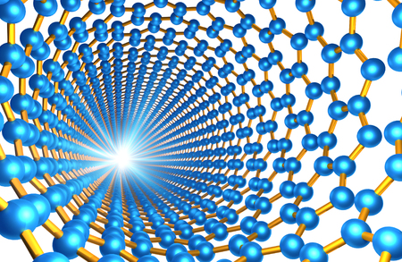 nanotubes: View through Carbon Nanotube, Blue and Orange Atoms Bonds