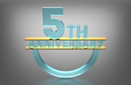 big five: 5 th Anniversary, 3D Render, Material Glass, Gold Pad Between Pieces of Glass Stock Photo