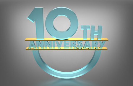 th: 10 th Anniversary, 3D Render, Material Glass, Gold Pad Between Pieces of Glass Stock Photo