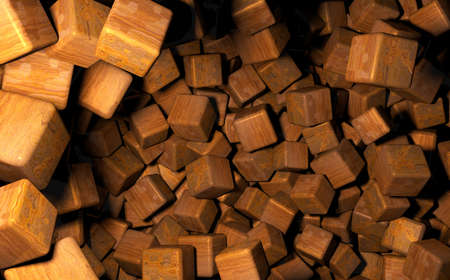 distributed: Rendered 3D Cubes Randomly Distributed in Space, Used Wood Texture Stock Photo