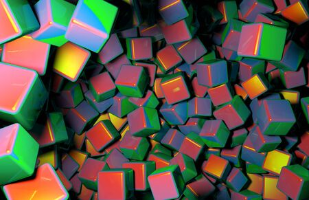 distributed: Rendered 3D Cubes Randomly Distributed in Space, Various Colors of Cubes