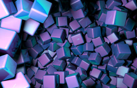 distributed: Rendered 3D Cubes Randomly Distributed in Space, Purple Cubes