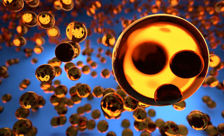 hovering: Orange Glass Spheres Hovering in the Air Stock Photo