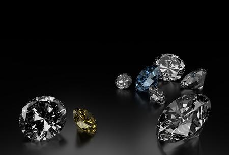 Diamantes en el fondo Negro, azul y diamantes amarillos pequeños