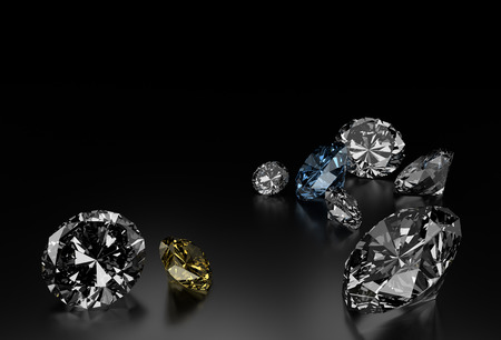 diamante negro: Diamantes en el fondo Negro, azul y diamantes amarillos pequeños