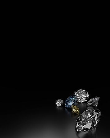 diamonds on black: Diamonds on Black Background, Blue and Yellow Small Diamonds