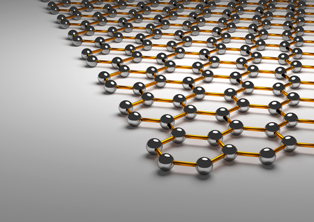 3D Rendering of Graphene Surface, Orange Bonds