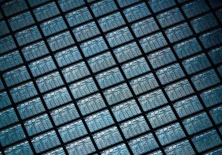 마이크로 칩을 포함하는 실리콘 웨이퍼의 세부 사항 스톡 콘텐츠