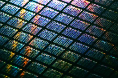 Detalle de la oblea de silicio que contiene microchips