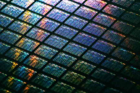 Detail of Silicon Wafer Containing Microchips Archivio Fotografico