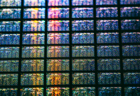 Detail of Silicon Wafer Containing Microchips Imagens