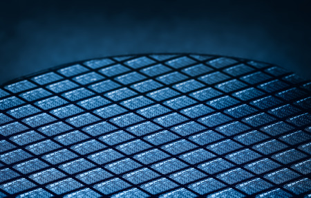 Detail of Silicon Wafer Containing Microchips Stok Fotoğraf