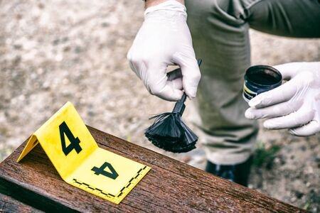 Crime scene investigation, using of dactyloscopic brush to reveal fingerprints