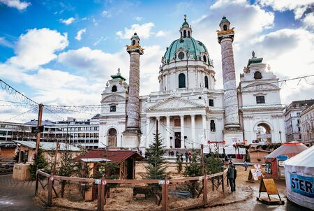 Vienna, Austria - December 10 2018: Charless Church or Karlskirche with Christmas Market in Vienna Redakční