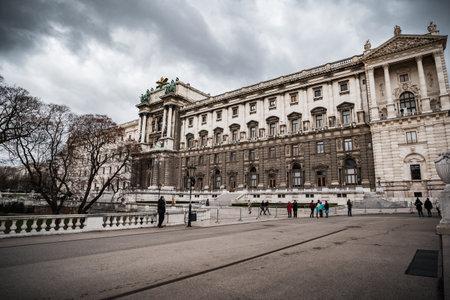Vienna, Austria - December 10 2018: The Hofburg in Heldenplatz square in the centre of Vienna in winter