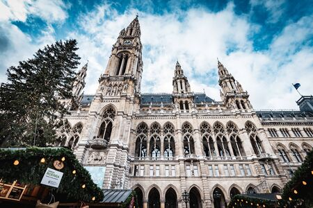Vienna, Austria - December 10 2018: Day shot of town hall during Christmas markets at Rathausplatz Redakční