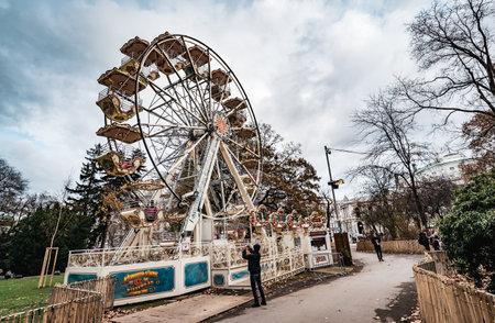 Vienna, Austria - December 10 2018: Day shot of Ferris Wheel at Rathausplatz during Christmas Markets in Vienna Redakční