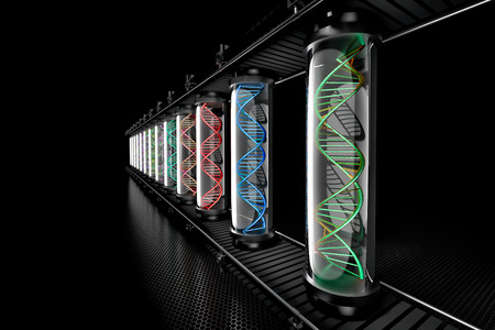 3D illustration of colored DNA helix in transparent glass tube being assembled on assembly line