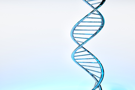 DNA double helix, blue glossy material, white gradient background