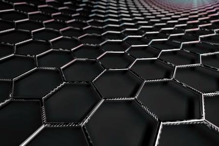 3D rendering of graphene surface, glossy grey bonds Reklamní fotografie