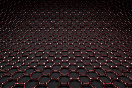 3D rendering of graphene surface, glossy red bonds and grey carbon atoms Reklamní fotografie