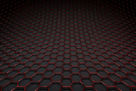 3D rendering of graphene surface, glossy red bonds